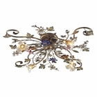 ELK 4 Light Semi Flush in Bronzed Rust and Multi Colored Crystal Florets EK-9105-4
