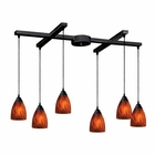 ELK 6 Light Pendant in Dark Rust and Espresso Glass EK-406-6ES