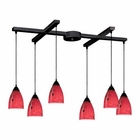 ELK 6 Light Pendant in Dark Rust and Fire Red Glass EK-406-6FR