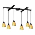ELK 6 Light Pendant in Dark Rust and Yellow Blaze Glass EK-406-6YW