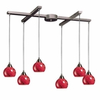 ELK 6 Light Pendant in Satin Nickel and Fire Red Glass EK-101-6FR