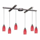 ELK 6 Light Pendant in Satin Nickel and Fire Red Glass EK-110-6FR