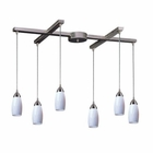 ELK 6 Light Pendant in Satin Nickel and Simply White Glass EK-110-6WH