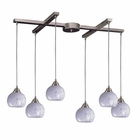 ELK 6 Light Pendant in Satin Nickel and Snow White Glass EK-101-6SW