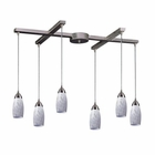 ELK 6 Light Pendant in Satin Nickel and Snow White Glass EK-110-6SW