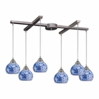 ELK 6 Light Pendant in Satin Nickel and Starlight Blue Glass EK-101-6BL