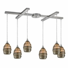 ELK 6- Light Pendant in Satin Nickel EK-31142-6
