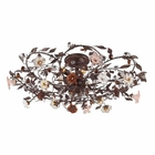 ELK 6 Light Semi Flush in Deep Rust and Hand Blown Florets EK-7047-6