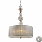 ELK Alexis 3-Light Pendant in Antique Silver With Adapter Kit EK-20007-3-LA
