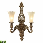 ELK Allesandria Collection 2 Light Sconce in Burnt Bronze and Weathered Gold Leaf- Led EK-11551-2-LED