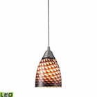ELK Arco Baleno 1 Light Pendant in Satin Nickel and Coco Glass - Led EK-416-1C-LED