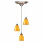 ELK Arco Baleno 3 Light Pendant in Satin Nickel and Canary Glass EK-416-3CN