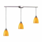 ELK Arco Baleno 3 Light Pendant in Satin Nickel and Canary Glass EK-416-3L-CN
