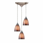 ELK Arco Baleno 3 Light Pendant in Satin Nickel and Coco Glass EK-416-3C