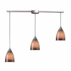 ELK Arco Baleno 3 Light Pendant in Satin Nickel and Coco Glass EK-416-3L-C