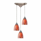 ELK Arco Baleno 3 Light Pendant in Satin Nickel and Multi Glass EK-416-3M