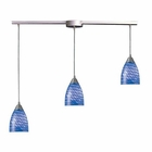 ELK Arco Baleno 3 Light Pendant in Satin Nickel and Sapphire Glass EK-416-3L-S