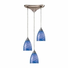 ELK Arco Baleno 3 Light Pendant in Satin Nickel and Sapphire Glass EK-416-3S