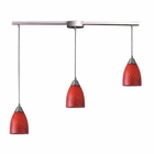 ELK Arco Baleno 3 Light Pendant in Satin Nickel and Scarlet Red Glass EK-416-3L-SC