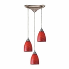 ELK Arco Baleno 3 Light Pendant in Satin Nickel and Scarlet Red Glass EK-416-3SC