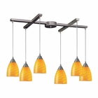 ELK Arco Baleno 6 Light Pendant in Satin Nickel and Canary Glass EK-416-6CN