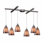 ELK Arco Baleno 6 Light Pendant in Satin Nickel and Coco Glass EK-416-6C