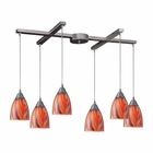 ELK Arco Baleno 6 Light Pendant in Satin Nickel and Multi Glass EK-416-6M