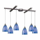ELK Arco Baleno 6 Light Pendant in Satin Nickel and Sapphire Glass EK-416-6S