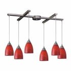 ELK Arco Baleno 6 Light Pendant in Satin Nickel and Scarlet Red Glass EK-416-6SC