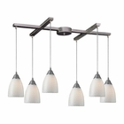 ELK Arco Baleno 6 Light Pendant in Satin Nickel and White Swirl Glass EK-416-6WS