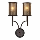 ELK Barringer 2-Light Sconce in Aged Bronze and Tan Mica Shades EK-15030-2