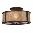 ELK Barringer 3-Light Semi-Flush in Aged Bronze and Tan Mica Shade EK-15031-3