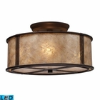 ELK Barringer 3-Light Semi-Flush in Aged Bronze and Tan Mica Shade - Led EK-15031-3-LED