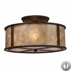 ELK Barringer 3-Light Semi-Flush in Aged Bronze and Tan Mica Shade With Adapter Kit EK-15031-3-LA