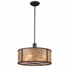 ELK Barringer 4-Light Pendant in Aged Bronze and Tan Mica Shade EK-15032-4