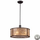 ELK Barringer 4-Light Pendant in Aged Bronze and Tan Mica Shade With Adapter Kit EK-15032-4-LA