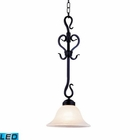 ELK Buckingham 1-Light Pendant in Matte Black With White Glass - Led EK-251-BK-LED