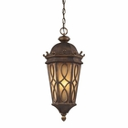 ELK Burlington Junction 3 Light Outdoor Pendant in Hazlenut Bronze and  Amber Scavo Glass EK-42003-3