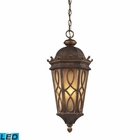 ELK Burlington Junction 3 Light Outdoor Pendant in Hazlenut Bronze and  Amber Scavo Glass - Led EK-42003-3-LED