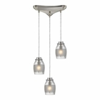 ELK Carved Glass 3 Light Pendant in Brushed Nickel EK-46161-3