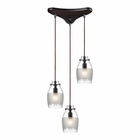 ELK Carved Glass 3 Light Pendant in Oil Rubbed Bronze EK-46162-3