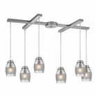 ELK Carved Glass 6 Light Pendant in Brushed Nickel EK-46161-6
