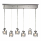 ELK Carved Glass 6 Light Pendant in Brushed Nickel EK-46161-6RC