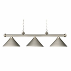 ELK Casual Traditions 3-Light Billiard/Island in Satin Nickel With Metal Shades EK-168-SN