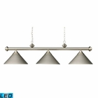 ELK Casual Traditions 3-Light Billiard/Island in Satin Nickel With Metal Shades - Led EK-168-SN-LED