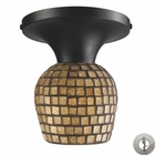 ELK Celina 1-Light Semi-Flush in Dark Rust and Gold Leaf Glass With Adapter Kit EK-10152-1DR-GLD-LA
