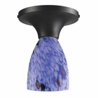 ELK Celina 1-Light Semi-Flush in Dark Rust and Starburst Blue Glass EK-10152-1DR-BL