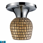 ELK Celina 1-Light Semi-Flush in Polished Chrome and Gold Leaf Glass - Led EK-10152-1PC-GLD-LED