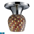 ELK Celina 1-Light Semi-Flush in Polished Chrome and Multi Fusion Glass - Led EK-10152-1PC-MLT-LED