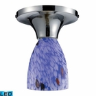 ELK Celina 1-Light Semi-Flush in Polished Chrome and Starburst Blue Glass - Led EK-10152-1PC-BL-LED